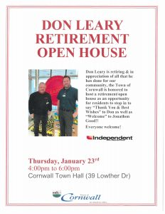 Don Leary Retirement Open House @ Cornwall Town Hall